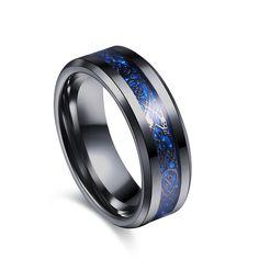Moderno anillo negro de acero inoxidable (3 colores) con detallado dibujo decorativo – CoolComplements