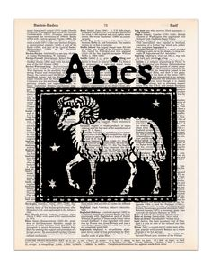 This vintage image of the Aries Ram is printed on an upcycled vintage dictionary page, and is ready for you to put in your own frame. It makes a great gift for that Aries in your life with a birthday