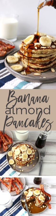 These banana almond pancakes are perfect for weekend breakfasts! Forget about banana bread - use your overripe bananas to make this easy pancake recipe.   honeyandbirch.com #pancakerecipes