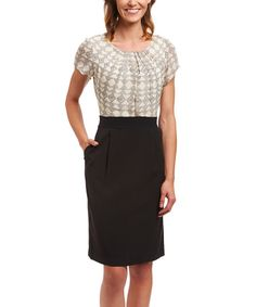 Look at this #zulilyfind! Cream & Black Geometric Pleated Dress #zulilyfinds