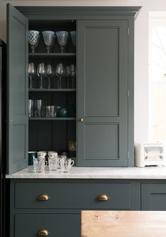 12 Farrow and Ball Kitchen Cabinet Colors For The Perfect English Kitchen - laurel home. Loads of color ideas 12 Farrow and Ball Kitchen Cabinet Colors For The Perfect English Kitchen - laurel home. Loads of color ideas Green Kitchen Cabinets, Kitchen Cabinet Colors, Kitchen Colors, Kitchen Ideas, Kitchen Post, Kitchen Grey, Kitchen Units, Kitchen Ranges, Kitchen Pantry