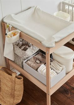 I thought a changing table was an overrated gimmick and wasn't prepared to spend a fortune on one. I quickly realised how wrong I was. Baby Changing Station, Baby Changing Tables, Changing Table Organization, Baby Room Themes, Baby Room Decor, Ikea Baby Room, Baby Bedroom, Baby Boy Rooms, Clean Bedroom
