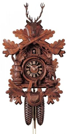 River City Clocks Eight Day Musical Hunter's Cuckoo Clock with Dancers Hand Carved Live Animals, Leaves and Buck Charles Eames, German Decor, Coo Coo Clock, Alpine Style, Wooden Clock, The Eighth Day, Antique Clocks, Wooden Hand, Black Forest