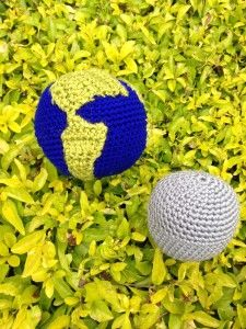 Earth and Moon crocheted balls #crochet #earth #moon