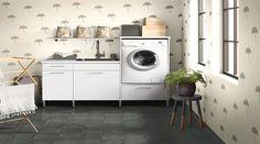 Trendy vinyl på baderomsveggen Bauhaus, Washing Machine, Laundry, Home Appliances, Education, Inspiration, Products, Tiles, Watercolor Painting
