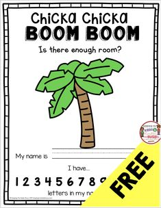 FREEBIE Chicka Chicka Boom Boom Book and printable Activity – free first day of school resource for kindergarten and first grade to practice counting – letters and how to spell your name - Kids education and learning acts Kindergarten First Week, Kindergarten Freebies, First Day Of School Activities, 1st Day Of School, Beginning Of The School Year, Kindergarten Classroom, Kindergarten Activities, School Resources, Kindergarten Posters