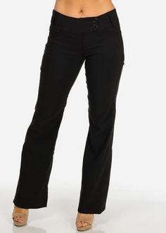 MID RISE BOOT CUT DRESSY PANTS (BLACK)