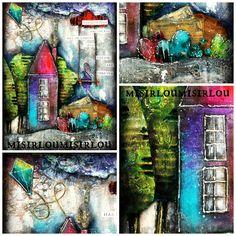 handmade by misirloumisirlou https://www.facebook.com/Misirloumisirlou/  #mixedmedia #whimsical #mixedmediahouse #mixedmediacanvas #acrylics