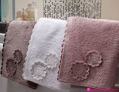 Towels Tutorial for Crochet, Knitting, Craf. Crochet Motifs, Crochet Patterns, Crochet Flowers, Crochet Lace, Cool Gadgets For Men, Crochet Towel, Crochet Projects, Knitting, Crafts