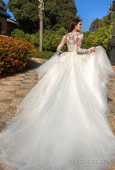 crystal design 2017 bridal long sleeves illusion jewel neckline heavily embellished bodice tulle skirt romantic a line wedding dress lace back royal train (daniel) bv