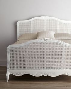 """Shabby Chic """"Elliana"""" Queen Cane Bed - traditional - beds - other metro - Horchow Cane Furniture, Bedroom Furniture, Bedroom Decor, Shabby Chic Zimmer, Headboards For Beds, Beautiful Bedrooms, Shabby Chic Furniture, Bedding Shop, Chic Bedding"""