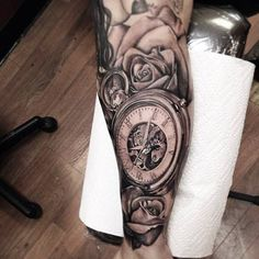 Roses And Clock Tattoos On Half Sleeve photo - 1