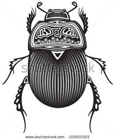 stock vector : Vector illustration of a tribal totem animal - Beetle - in graphic style