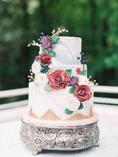 Floral Iced Wedding Cake