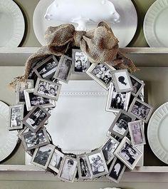 Photo Frame Wreath - create a decorative wreath with a bunch of dollar store small frames. Creative Photo Frame Display Ideas, http://hative.com/creative-photo-frame-display-ideas/,