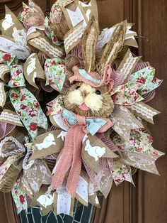 Easter Wreath, Spring Wreath, Easter Bunny Wreath, Easter Door Hanger, Front Door Hanger, Burlap Easter Wreath, Bunny Wreath, Burlap Spring Wreath, Easter Decor This is a Poly Jute Mesh Wreath, with Mesh ruffles placed throughout in pink poly Jute and cream and natural poly Jute.