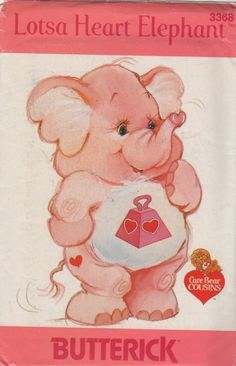 Butterick 3368 1980s LOTSA HEART ELEPHANT Care Bear by mbchills