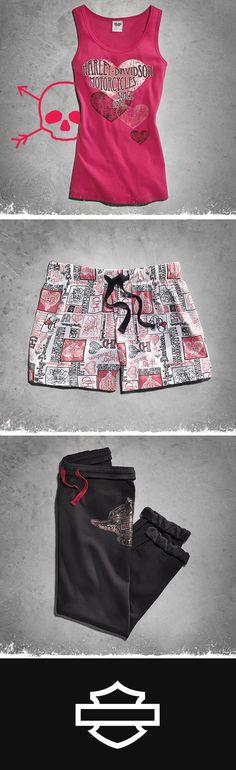 Loungewear to help you turn up the heat this #ValentinesDay. | Harley-Davidson Hearts Sleep Tank, Hearts Sleep Short and Black Sleep Pant