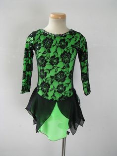 Green figure ice skating dress.
