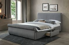 King Size Grey Fabric Bed Frames with Sleigh Bed Design. FREE Delivery on all Fabric Bed Frames. Fabric Sleigh Bed, Sleigh Beds, Upholstered Bed Frame, Headboard And Footboard, Fabric King Size Bed, Modern Double Beds, Ottoman Storage Bed, Leather Headboard