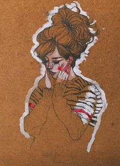 Conrad Roset - Absolutely love this, my favourite combination; Brown white pencil and a little splash of colour