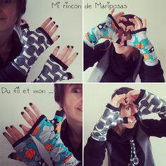 Mitaines MdrC Tuto et Patron gratuit Mi rincon de mariposas - Sewing Online, Fingerless Gloves, Arm Warmers, Fabric Crafts, Free Pattern, Kids Outfits, Fashion, Caps Hats, Mittens
