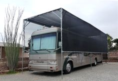 """RV Canopy with Black Mesh Tarp and 1 7/8"""" Canopy Fittings"""