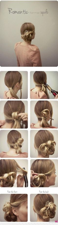 romantic formal updo tutorial with brown colored remy and cheap hair extension clip in