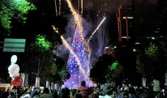 On Saturday, December 5, 2009, a Pepsi-sponsored 295-foot-tall steel-wire artificial Christmas tree was unveiled on Mexico City's popular avenue. Designated the world's tallest artificial Christmas tree, it beat out the one in Brazil, which had held the record since 2007. Photo by Alredo Estrella via Getty Images.