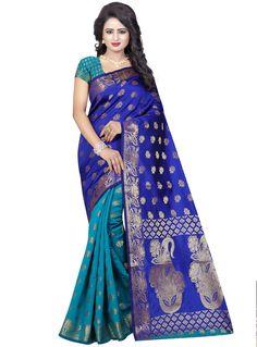 Blue Banarasi Silk Half N Half Saree 92539