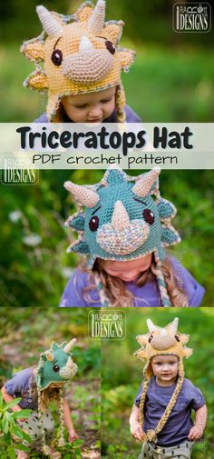 Absolutely Adorable! What incredible detail on this Triceratops beanie! Love the ear flap design on this cozy hat! So sweet... dinosaur-loving kids will go nuts for this great winter cap! #etsy #ad #toque