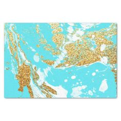 "Turquoise gold faux glitter modern marble pattern 10"" x 15"" tissue paper"
