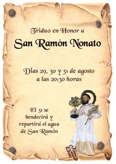 Triduo en honor a san Ramón Nonato en La Merced - https://herencia.net/2016-08-30-triduo-en-honor-a-san-ramon-nonato-en-la-merced/?utm_source=PN&utm_medium=herencianet+pinterest&utm_campaign=SNAP%2BTriduo+en+honor+a+san+Ram%C3%B3n+Nonato+en+La+Merced