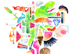 Watercolor Grouped Images Illustration