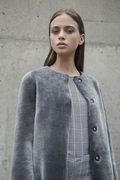 4dcf16394a37 KOJA | Women's Grey Merino Shearling Reversible Coat | Designed in NYC |  Made in Germany