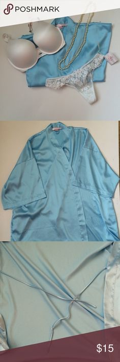 (OS) VS Tiffany Blue Kimono Robe Beautiful Victoria's Secret Tiffany Blue Kimono Robe, one size fits most. Sleek satin-like fabric, silky to the touch. Short lingerie robe style. The baby blue color is perfect, matches well with white and black, and could even be used for your a wedding, honeymoon, or everyday around the house. There are a few minor flaws that can only be seen when looking closely, as visible in pics. No robe belt included but there are side ties located on the interior of…
