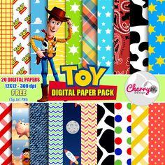 Toy Story Digital Papers Free Clip Art Digital by CherryMDesign Digital Scrapbook Paper, Digital Paper Free, Printable Scrapbook Paper, Digital Papers, Toy Story Baby, Toy Story Theme, Toy Story Birthday, 4th Birthday Parties, 3rd Birthday