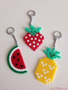 Sélection Déco en perles Hama #1 porte clefs perler bead fraise ananas pasteque