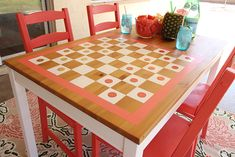 DIY Checkers Table how-to from MichaelsMakers Classy Clutter