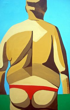 """Susanne Boehm; Acrylic, 2012, Painting """"String Man""""  probably not from etsy - LOL - another one I can't hang in my beach shack but would be hilarious"""