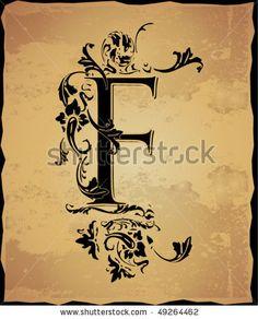 Vintage initials letter f by Mednyanszky Zsolt, via ShutterStock