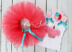 The Coral Cupcake Tutu, Shirt, & Headband- Pink, Hot Pink, Turquoise, Coral, Birthday, outfit, cake smash, Girl, Infant, Toddler on Etsy, $65.95