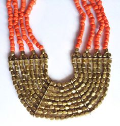 Coral Necklace / Golden Necklace / Statement by Magicstring, $25.90