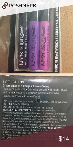 NYX LIquid Suede Lipstick Set New in box. Never open, never used. NYX Makeup Lipstick