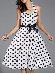 SHARE & Get it FREE | Vintage Polka Dot Halter Midi Dress For WomenFor Fashion Lovers only:80,000+ Items • New Arrivals Daily • Affordable Casual to Chic for Every Occasion Join Sammydress: Get YOUR $50 NOW!
