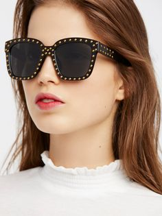 Stud Muffin Sunnies   Thick frame sunnies featuring a statement detail with stud accents allover.  * 100% UV Protection