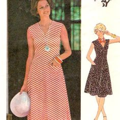70s Vintage Dress sewing pattern Knit bias or straight grain summer casual wear Butterick 4776 Bust 36 UNCUT