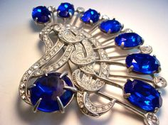 EISENBERG Art Deco Cobalt Blue Brooch, Rhinestones, Swirl Design, Large Signed Vintage