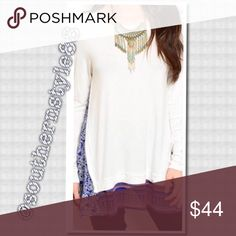 White with Purple Accent Top Small BNWT 95% Rayon 5% Spandex, Soft white Top with a bright accent piece that runs on the lower edge of the top and on the sides. Loose fit (woman's sizes) ⛔️No PP/Trades ✅Offers Considered ✅Bundle for more Discounts! Thanks for Looking! Boutique Tops Blouses