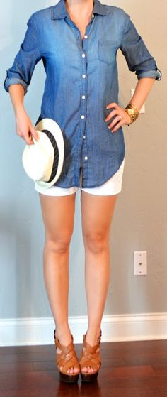 "Summer - Chambray button down, white pleated shorts, brown ""Lambert"" Wedges, white fedora hat"